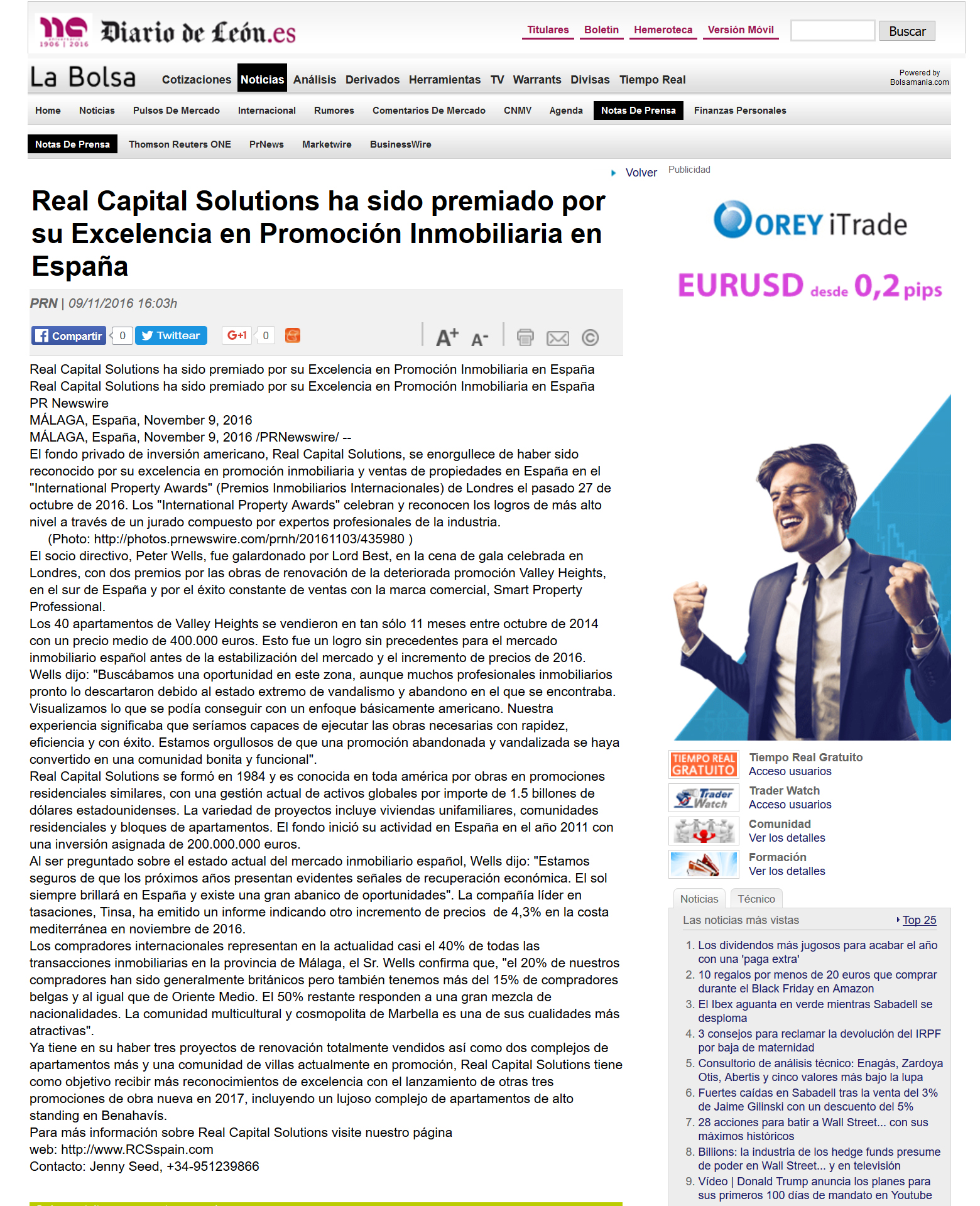 Real Capital Solutions ha sido premiado