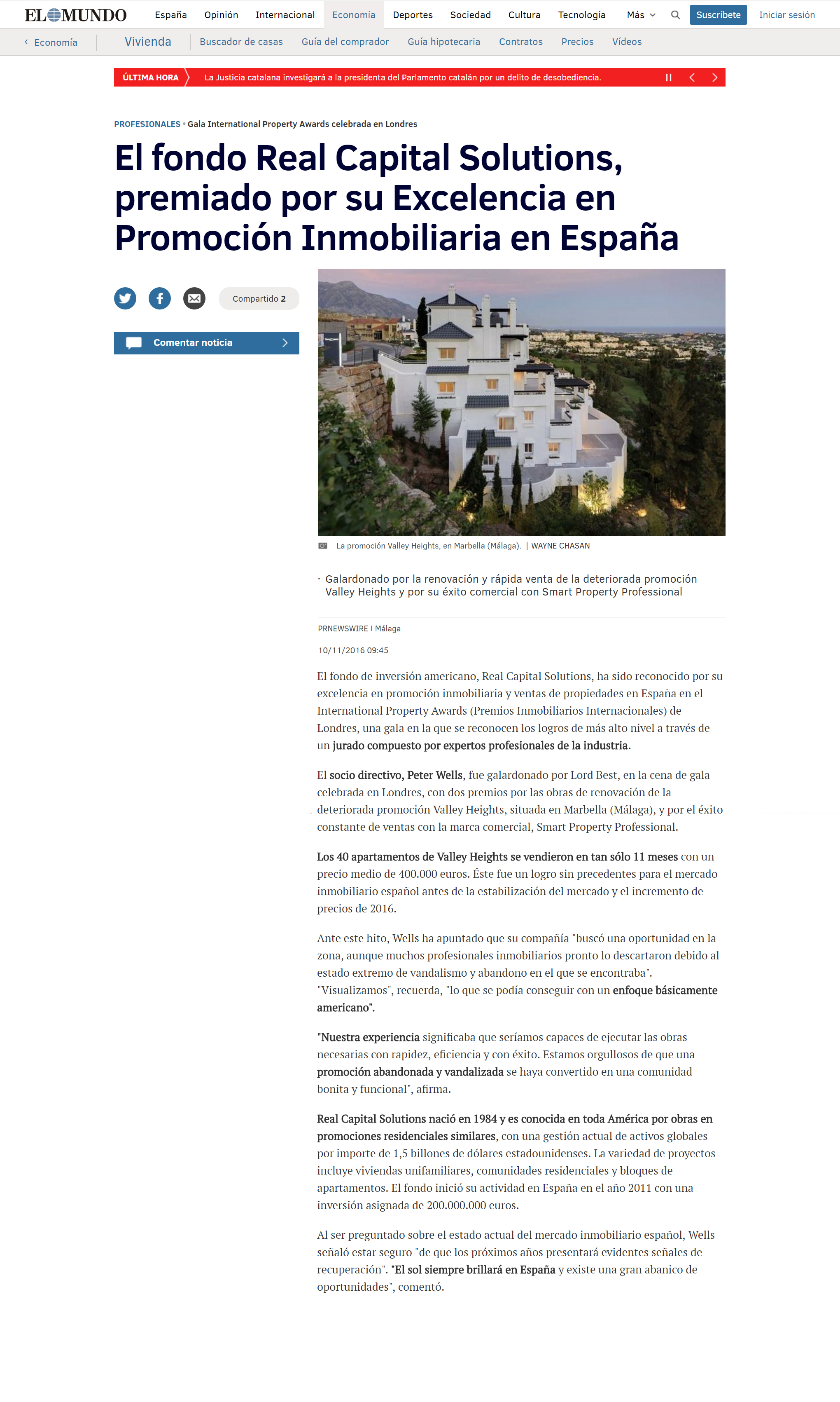 Real Capital Solutions featured in elmundo.es