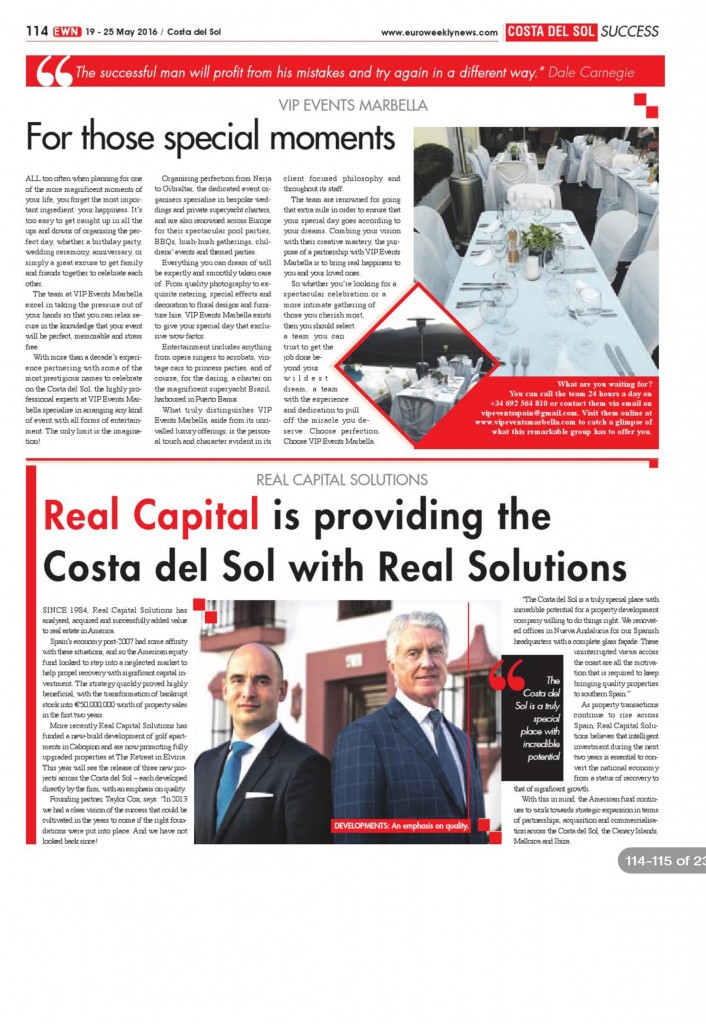 Euro Weekly News Real Capital Solutions