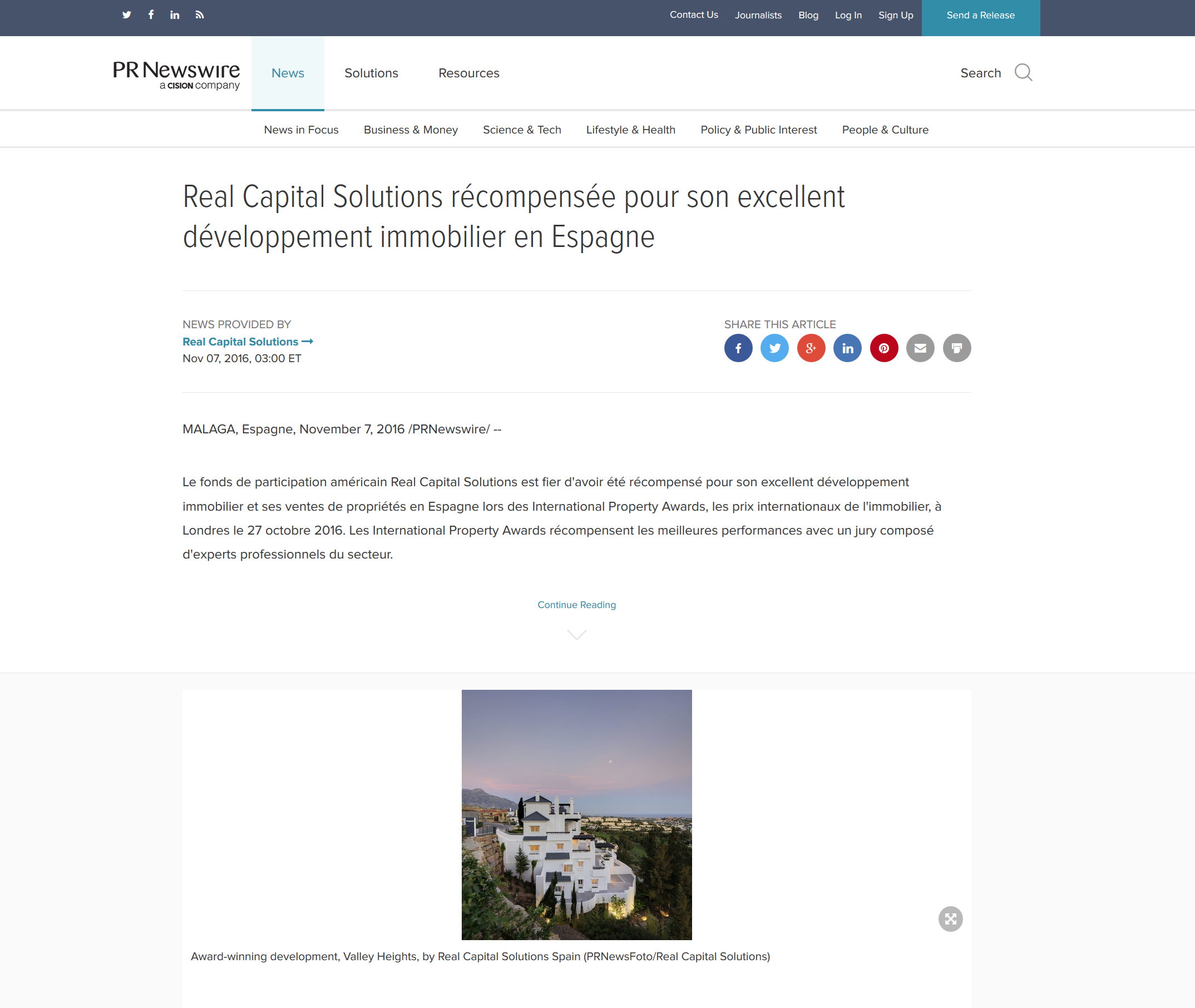 Real Capital Solutions récompensée pour son excellent developpement