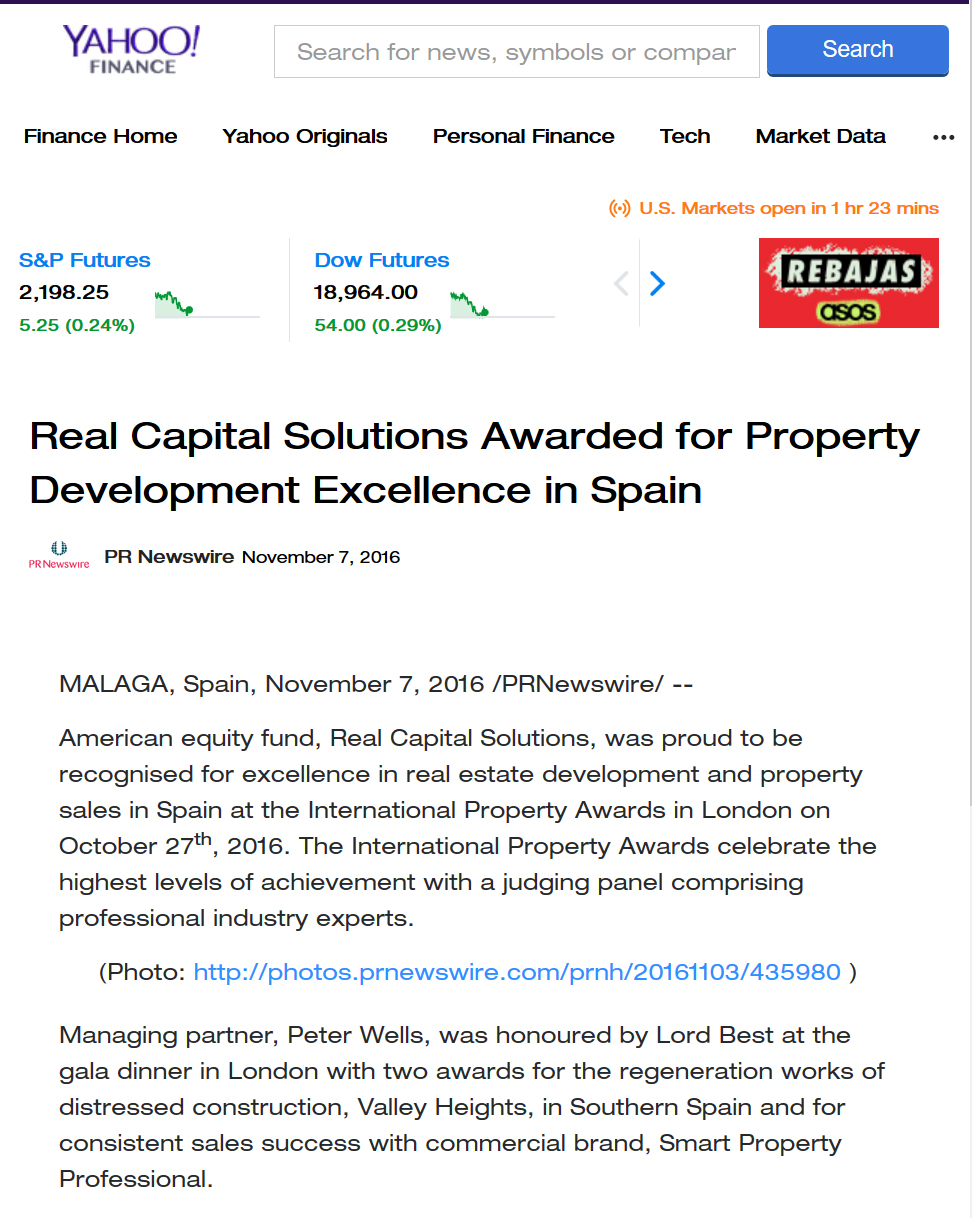 Yahoo Finance features Real Capital Solutions Award-winning excellence